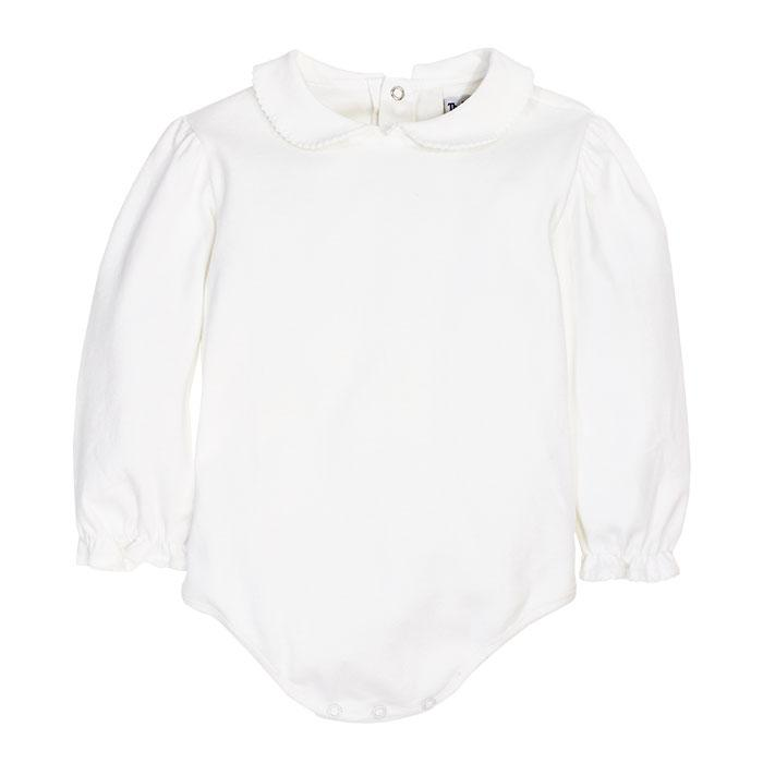 Girls White Knit Peter Pan Blouse w/ Snaps