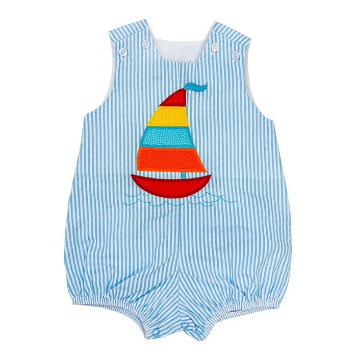 Bailey Boys - Sailboat Seersucker Infant Bubble - kkgivingtree - K&K's Giving Tree