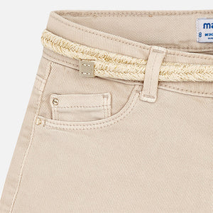 Beige Shorts with Belt