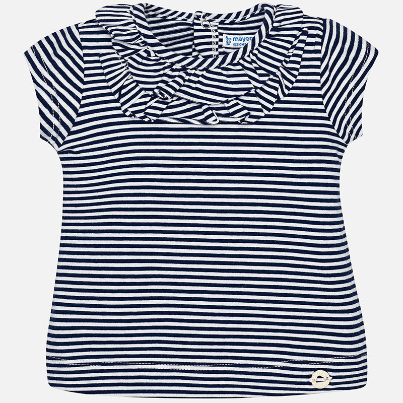 Navy & White Stripe Ruffle T-Shirt
