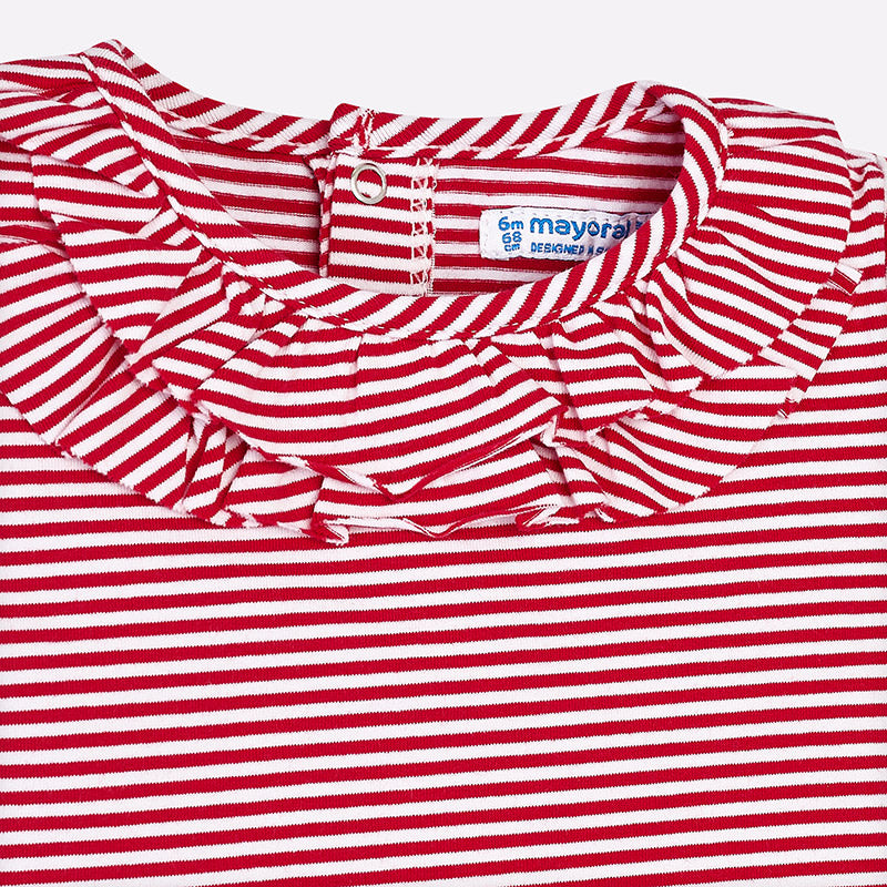 Red & White Stripe Ruffle T-Shirt