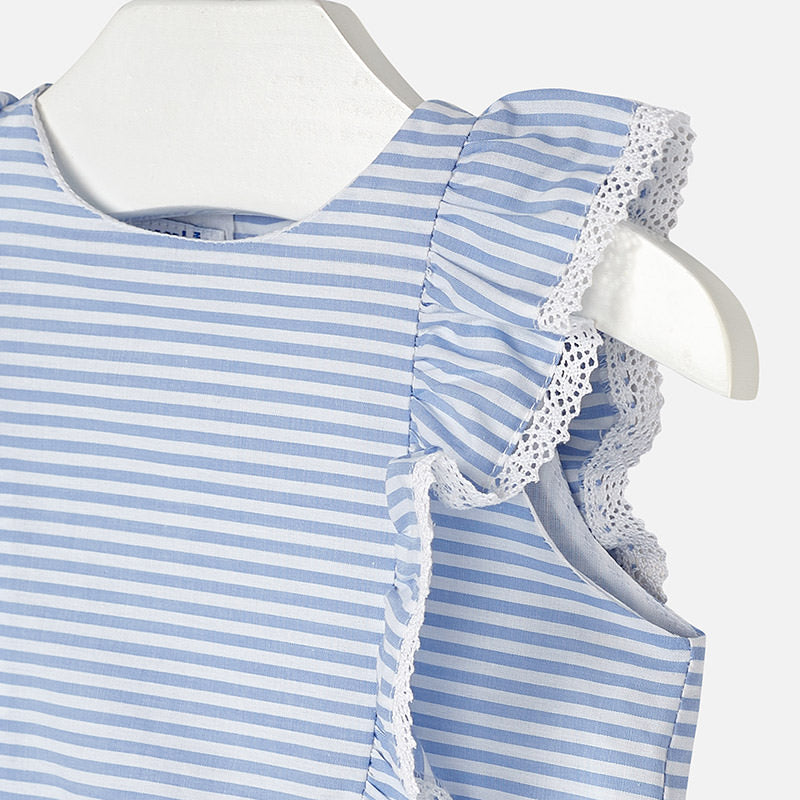 Light Blue Stripe Ruffle Blouse