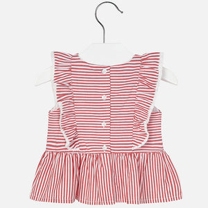 Light Red Stripe Ruffle Blouse