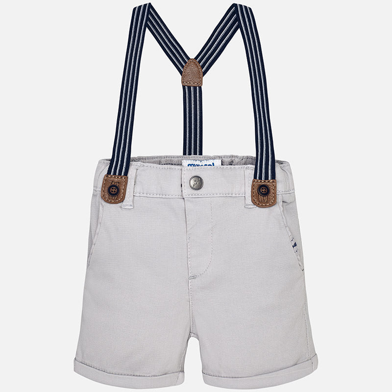 Grey Limestone Shorts with Suspenders