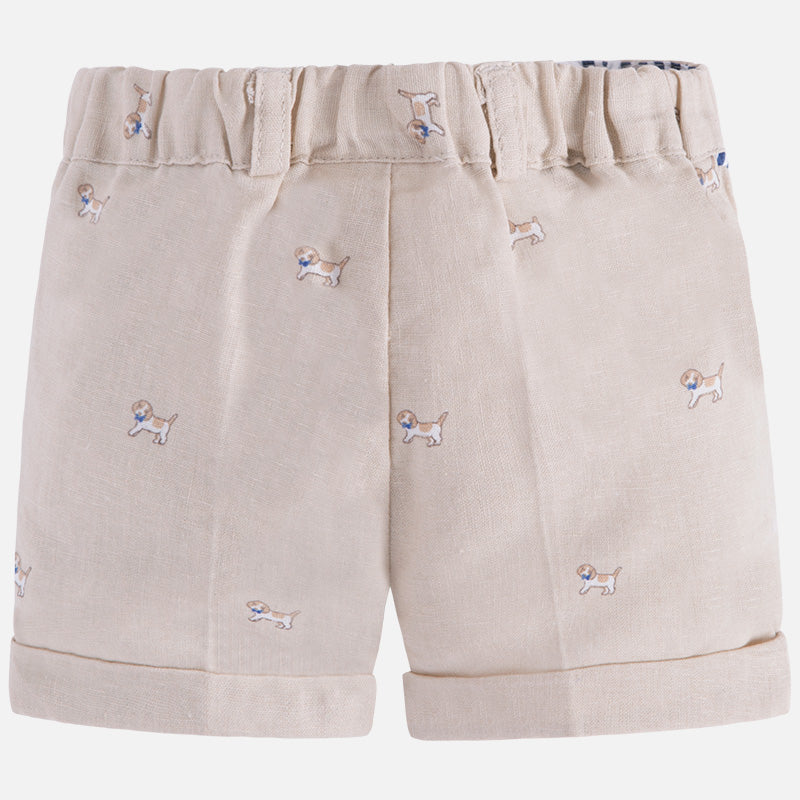Puppy Print Khaki Shorts