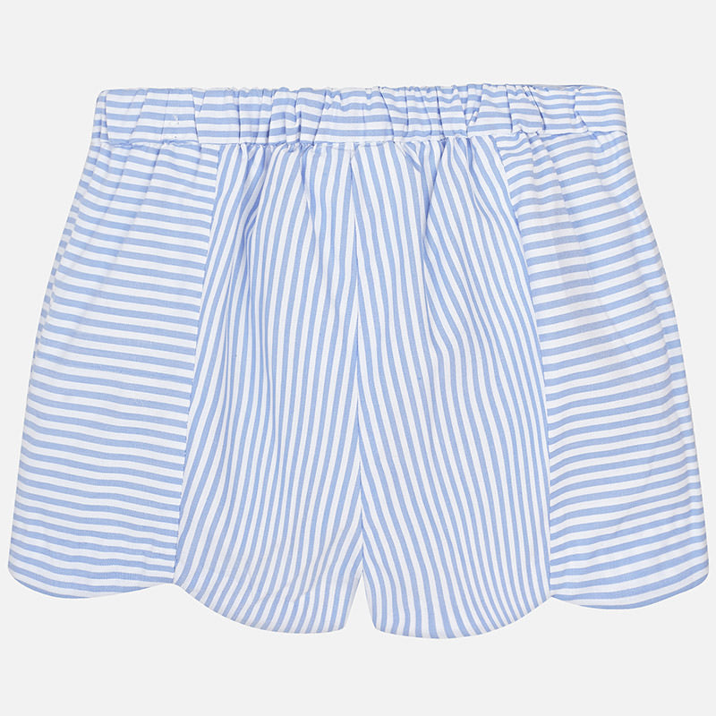 Light Blue Striped Scallop Shorts