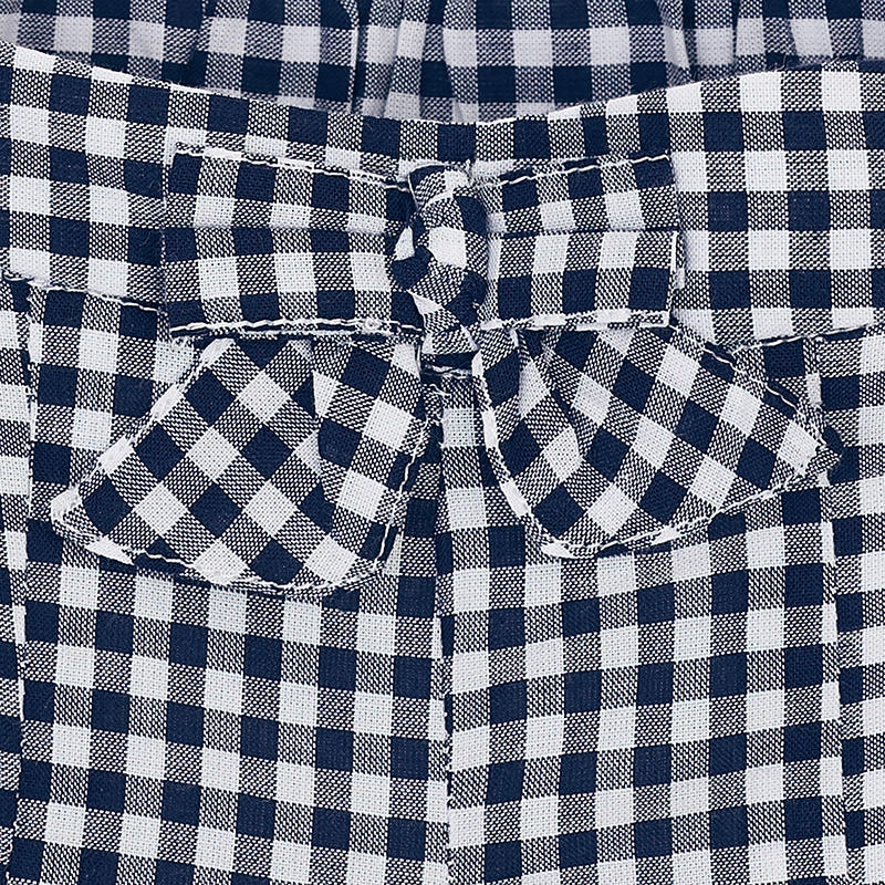 Navy Gingham Scallop Shorts