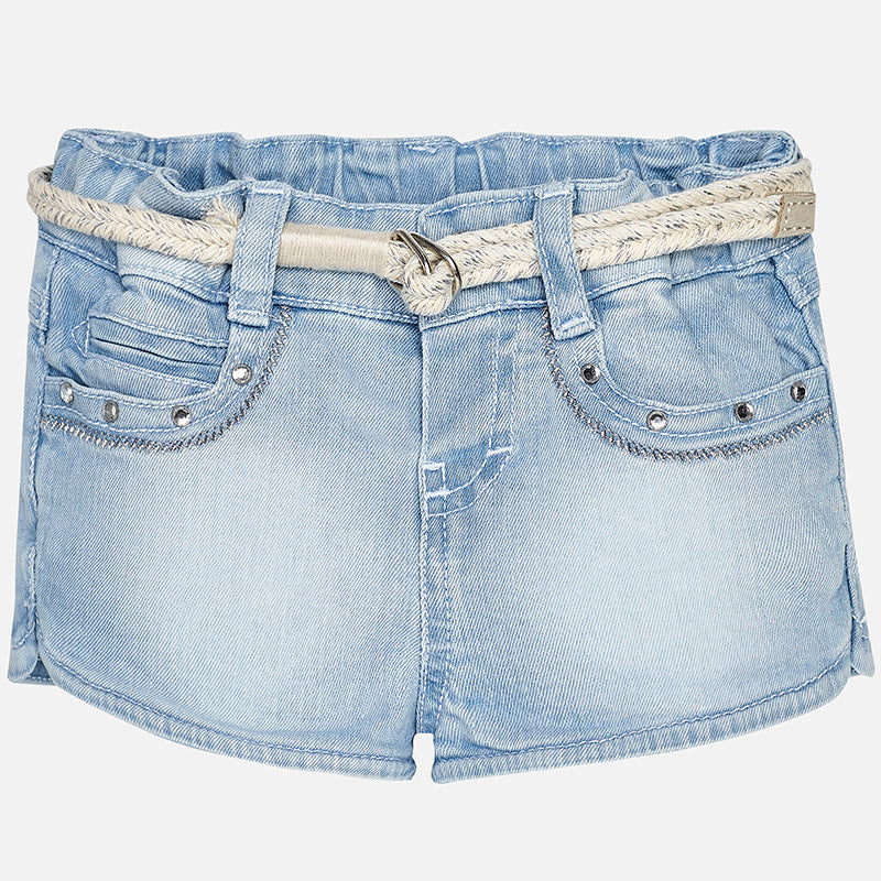 Rhinestone Light Denim Shorts & Belt