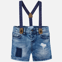 Distressed Denim Shorts with Suspenders