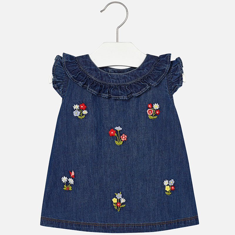Floral Embroidered Denim Dress