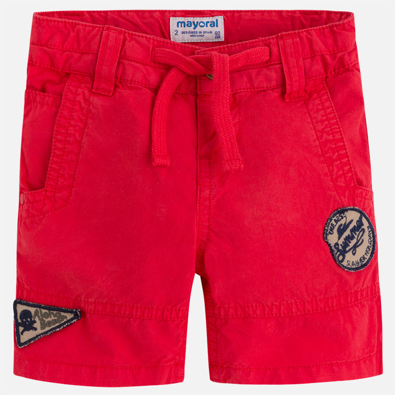 Red Patchwork Shorts