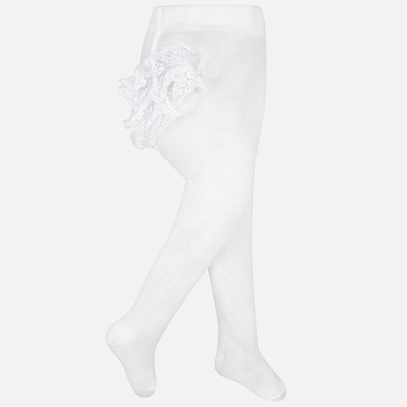 White Ruffle Footed Tights