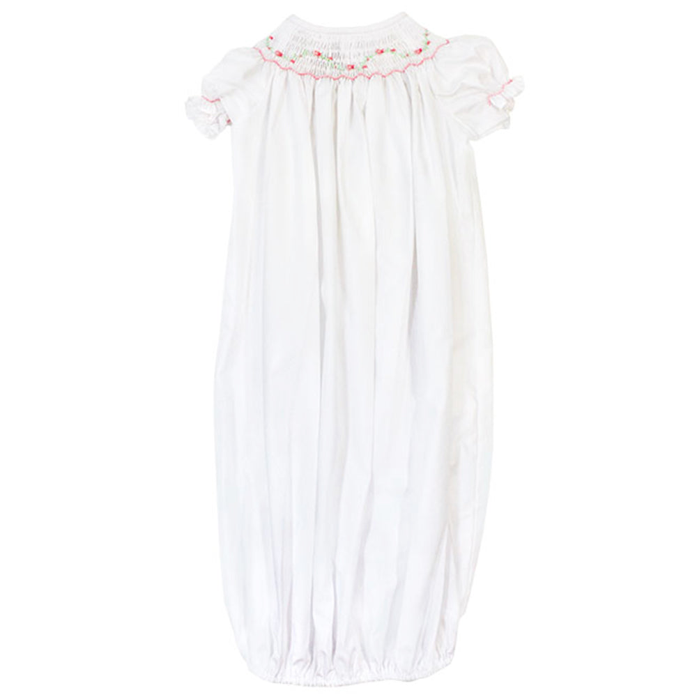 Smocked Pink Vine Sack Gown