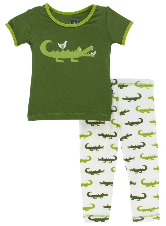 Natural Crocodile Short Sleeve Pajama Set