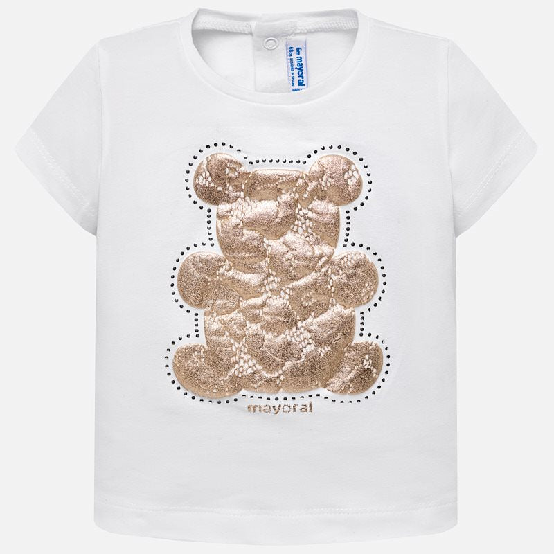 White Short Sleeved T-Shirt With Lace Teddy Bear