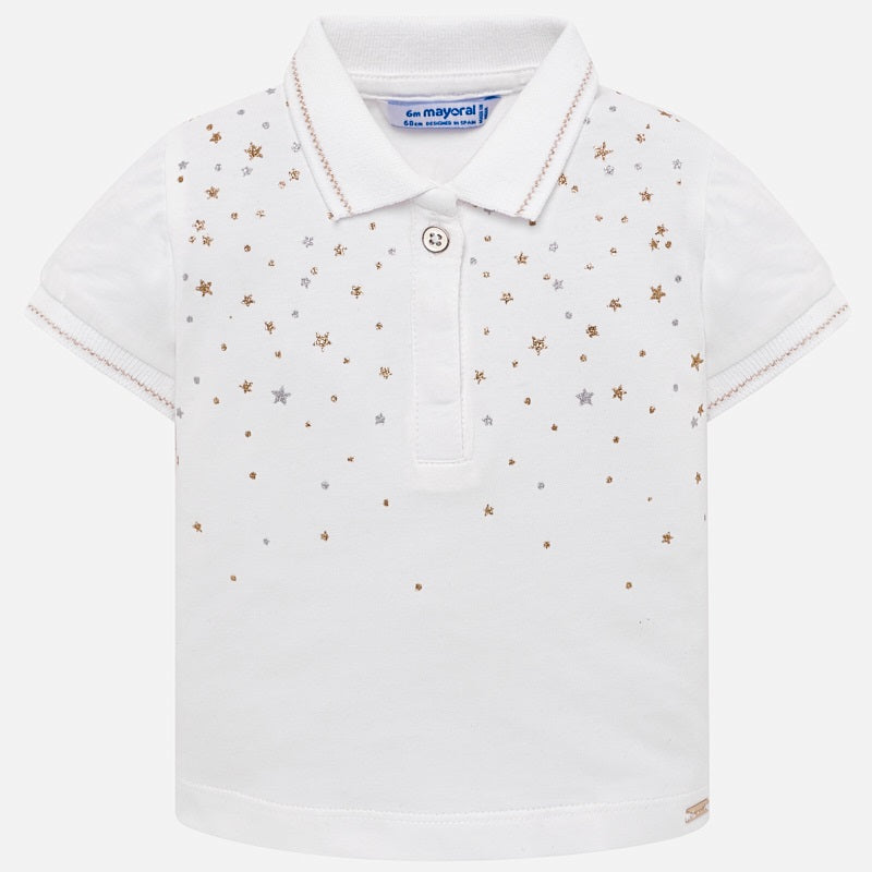 White Short Sleeved Star Polo Shirt For Girls