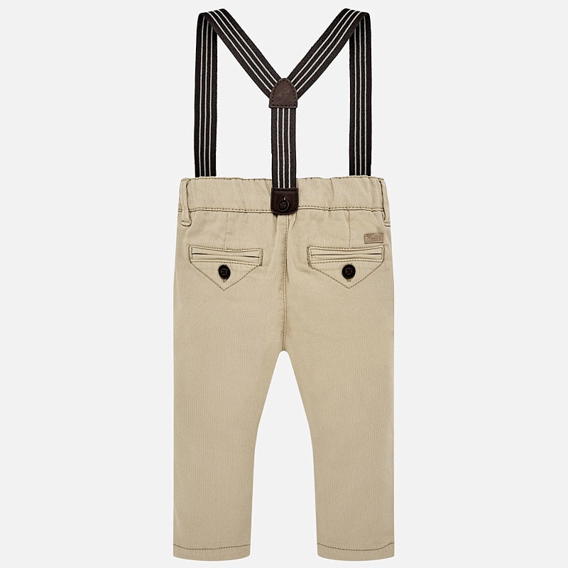 Beige Slim Fit Chino Pants With Braces