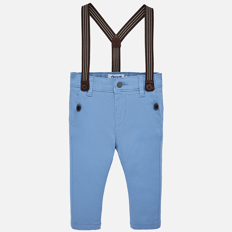 Blue Slim Fit Chino Pants With Braces