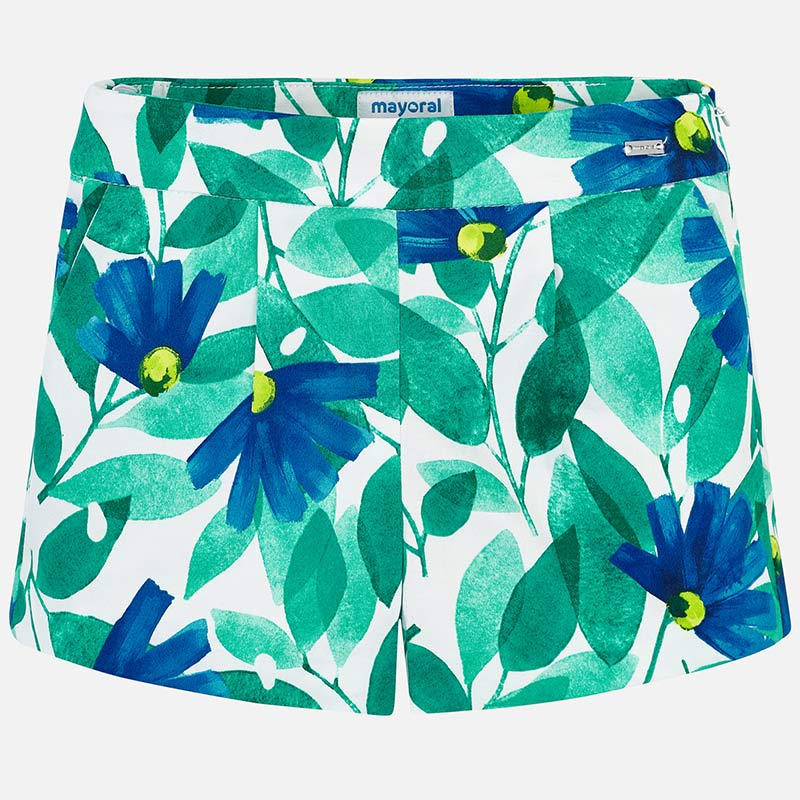 Blue Flower Patterned Shorts
