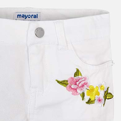 Flower Embroidered White Shorts