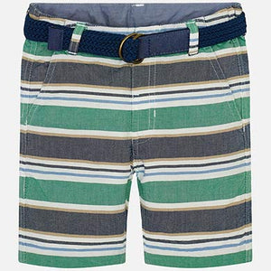 Green and Gray Striped Shorts