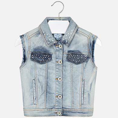 Bleached Sleeveless Denim Jacket