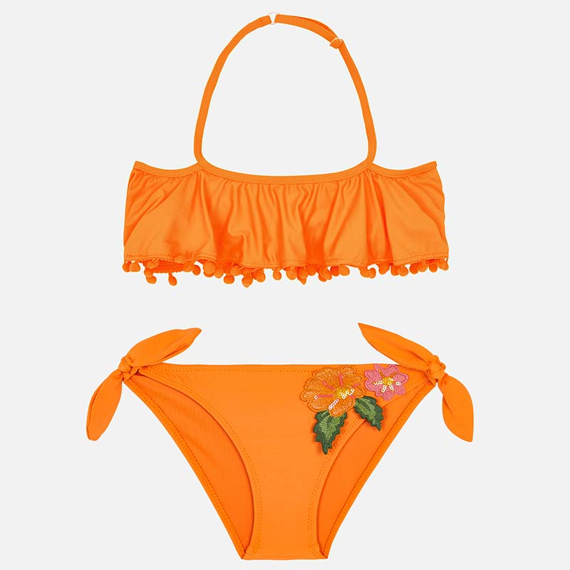 Orange Ruffle Bikini With Floral Appliques