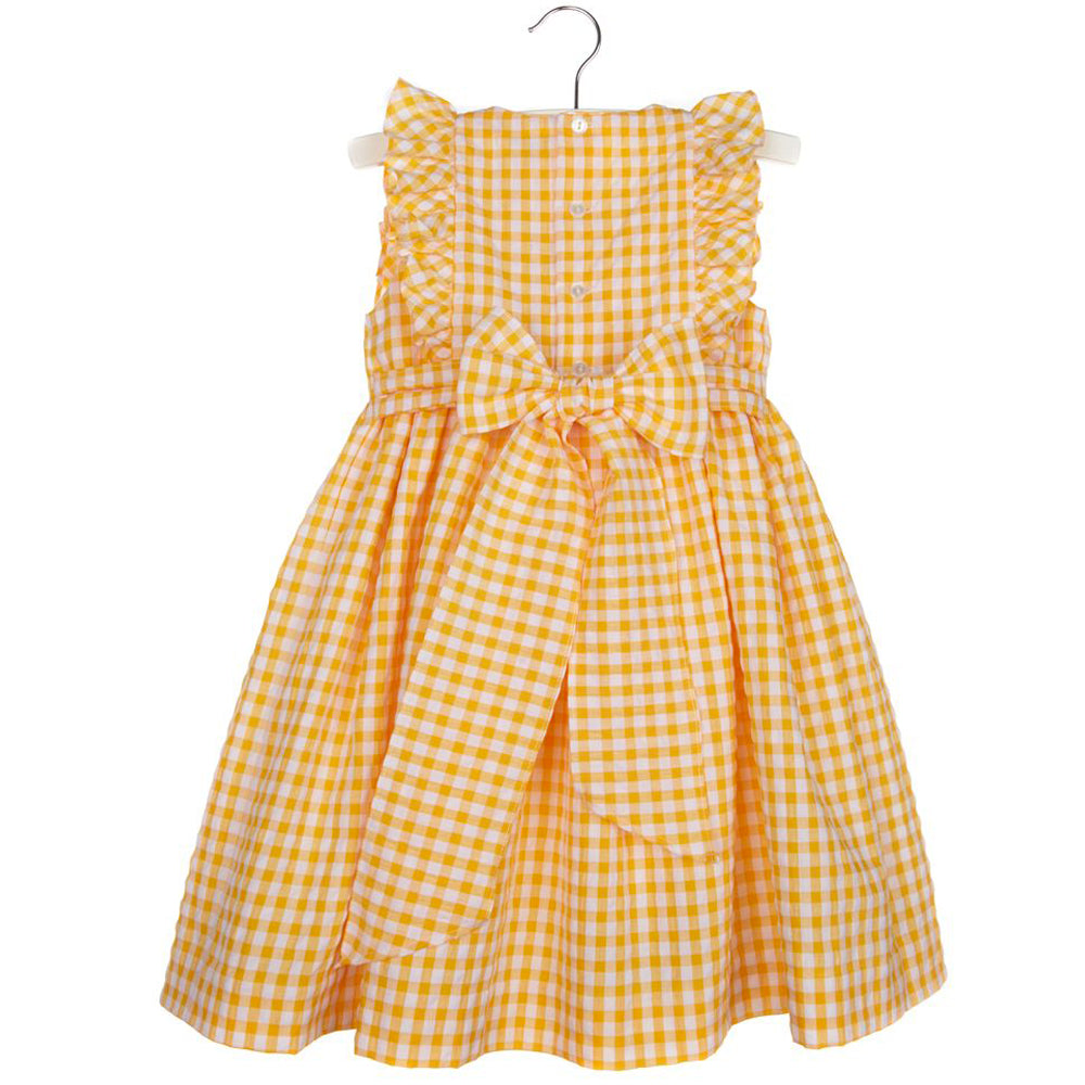 Lemon Gingham Smocked Dress
