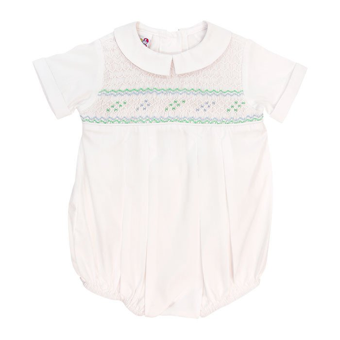 Smocked Mint & Blue White Dressy Bubble