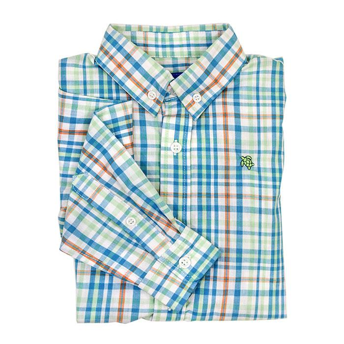 Turquoise Reef Plaid Button Down Shirt