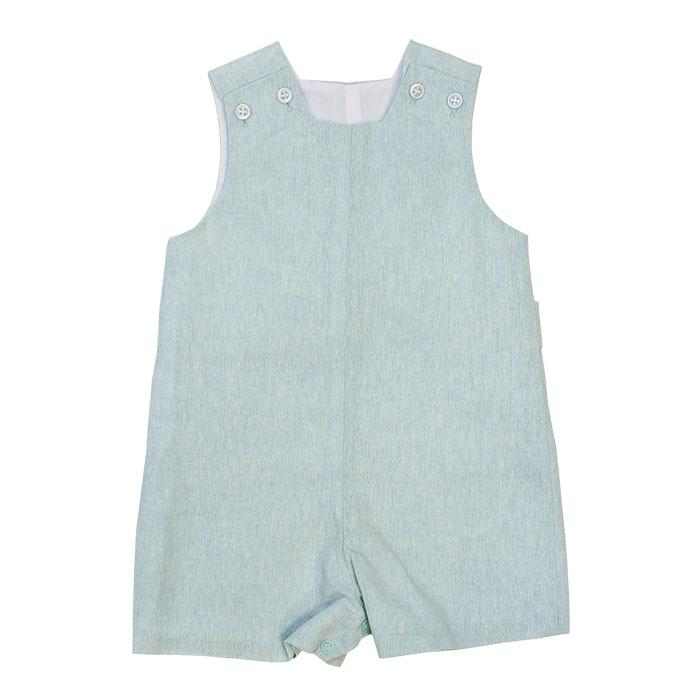 Bailey Boys - Misty Blue Linen John John Short with Tabs - kkgivingtree - K&K