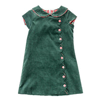 Forest Corduroy Button Dress