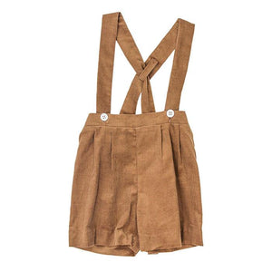 Chocolate Brown Corduroy Suspender Shorts