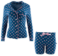 Twilight Dot Women's Collared Pajama Set w/ Shorts