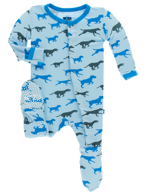 KicKee Pants - Pond Running Labs Footie with Snaps - kkgivingtree - K&K's Giving Tree