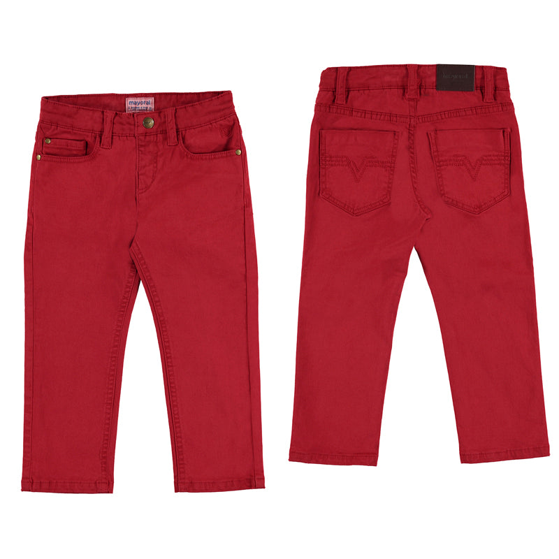 Red Five Pocket Twill Pants