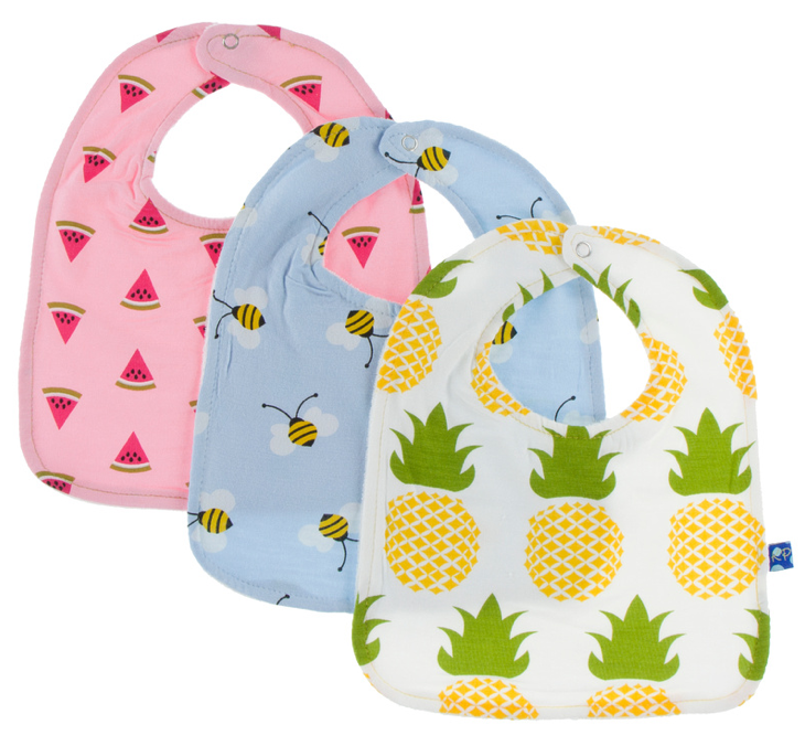 Bib Set of 3: Lotus Watermelon, Pond Bees, Natural Pineapple
