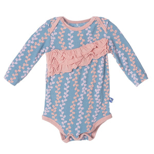 KicKee Pants - Blue Moon Seaweed Diagonal Ruffle Long Sleeve One Piece - kkgivingtree