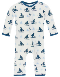 Natural Sailboat Coverall w/ Snaps