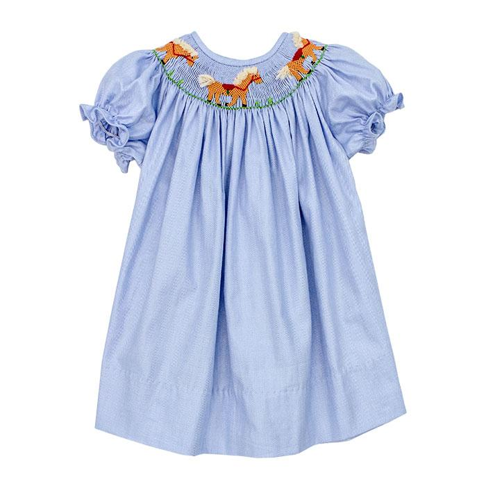 Smocked Horse Bishop Dress