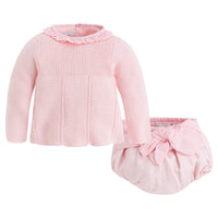 Pink Sweater & Bow Bloomer Set