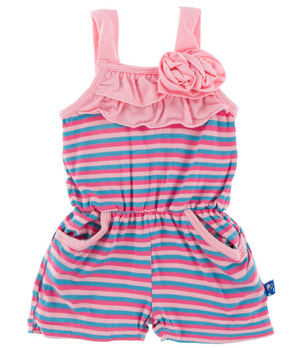 Flamingo Anniversary Stripe Flower Romper w/ Pockets