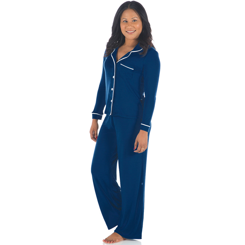 KicKee Pants Twilight Long Sleeved Collared Pajama Set - kkgivingtree