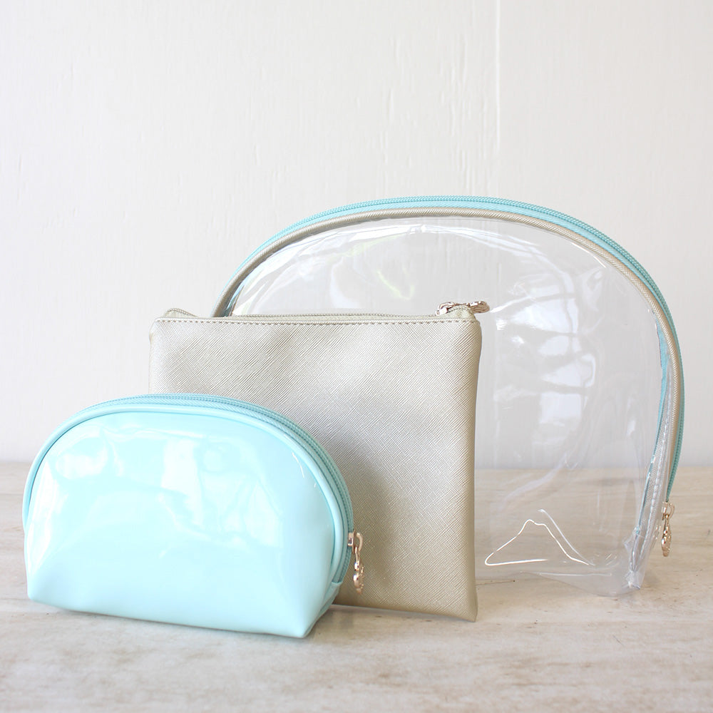 Manhattan Cosmetic Bags in Clear/ Gold/ Mint (set of 3)