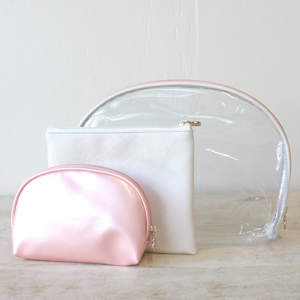 Pink & Pearl Manhattan Cosmetic Bags - Set of 3