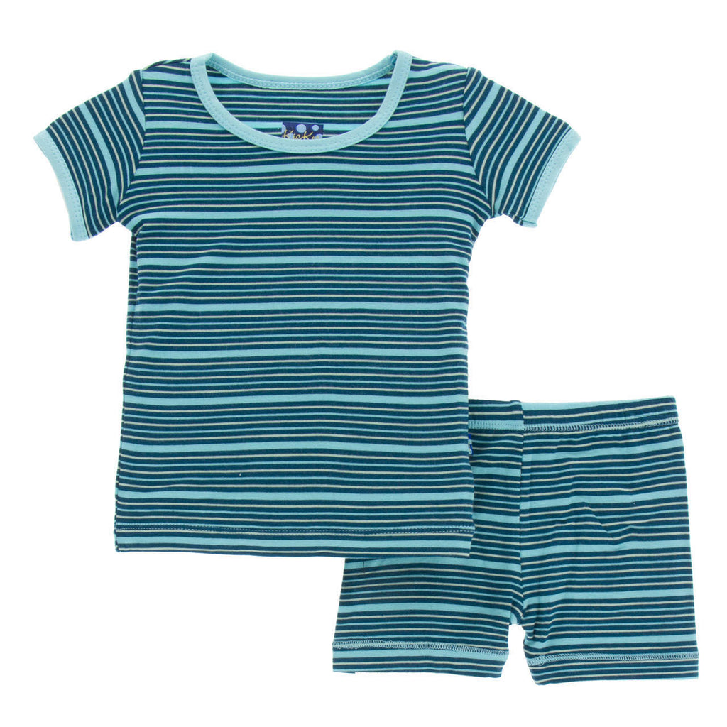 Shining Sea Stripe Short Sleeve Pajama Set with Shorts