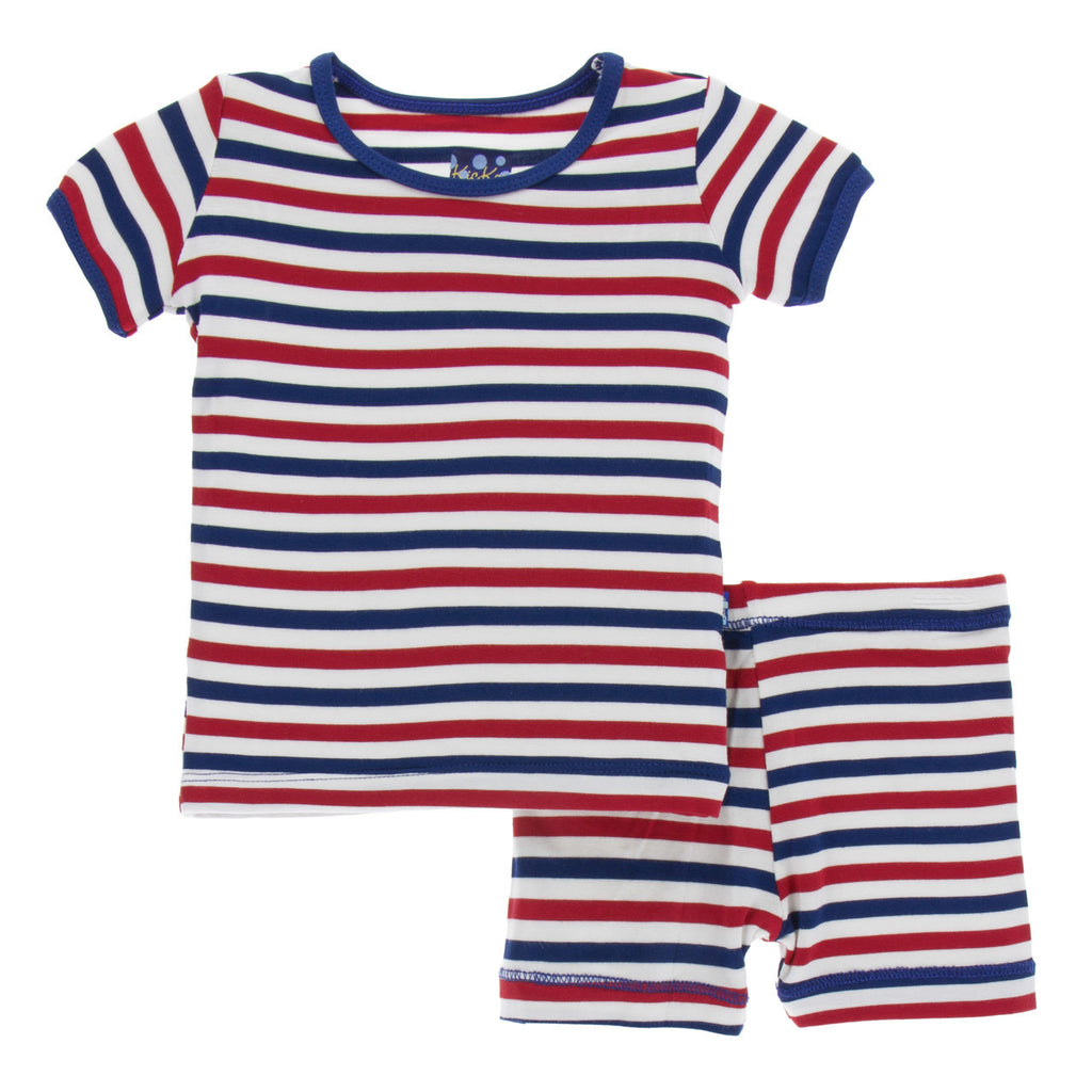 USA Stripe Short Sleeve Pajama Set with Shorts