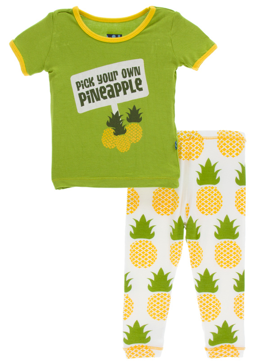 Natural Pineapple Short Sleeve Pajama Set