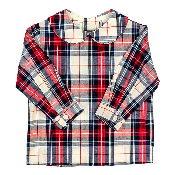 Boys Piped Button Back Shirt - Shaw Plaid