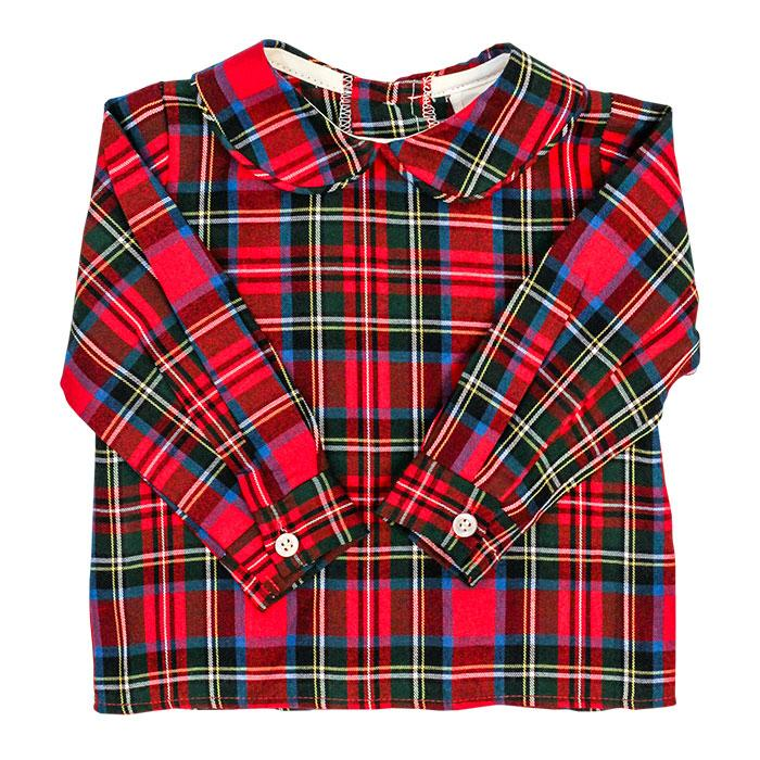 Boys Piped Button Back Shirt - Wales Plaid